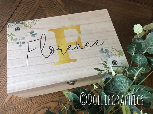 Personalised Floral Keepsake Box