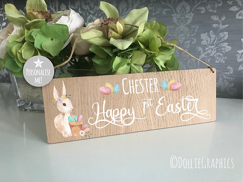 Personalised Hanging Happy 1st Easter Sign