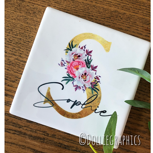 Personalised Square Floral Coaster