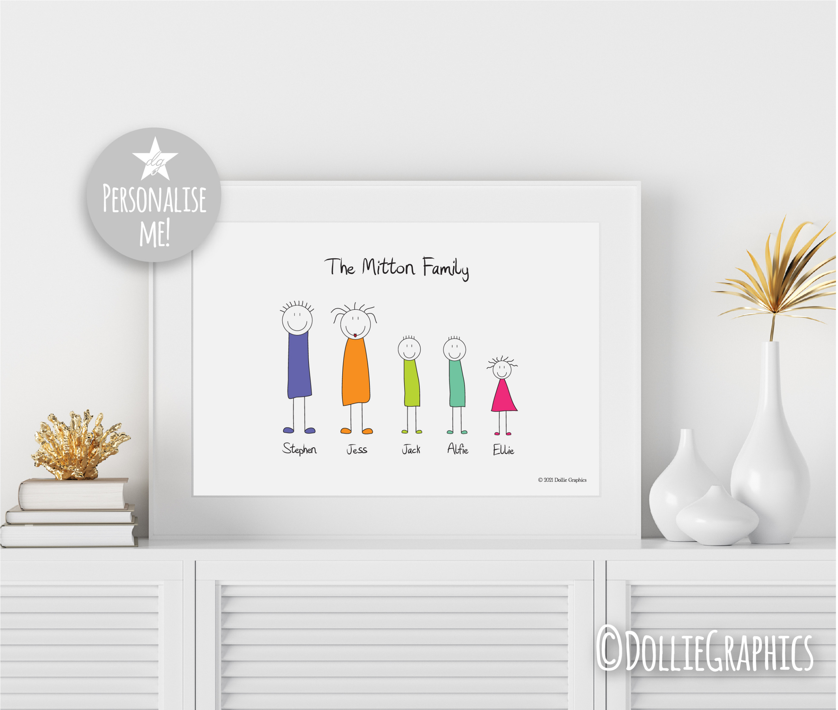 personalised stick people print