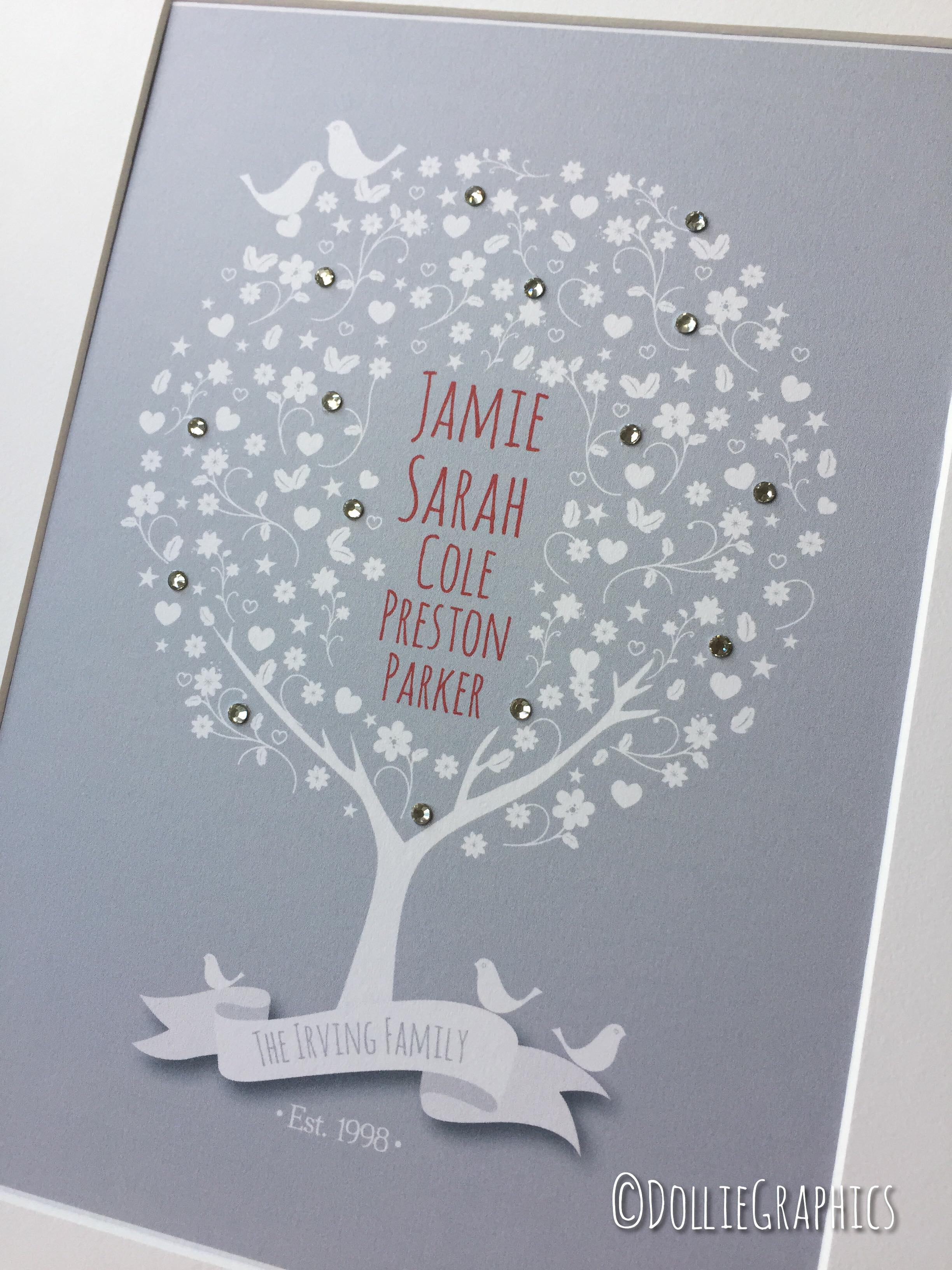 personalised family tree print with spar