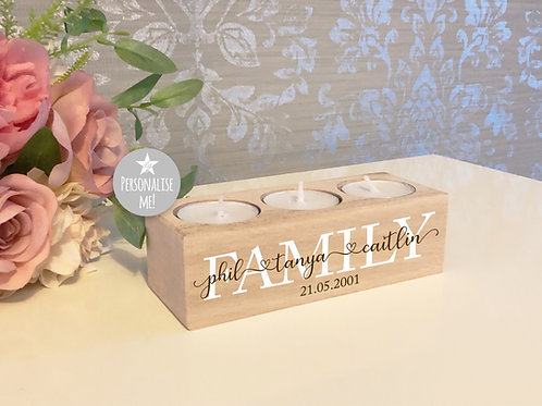 Personalised Family 3 Candle Tealight Holder