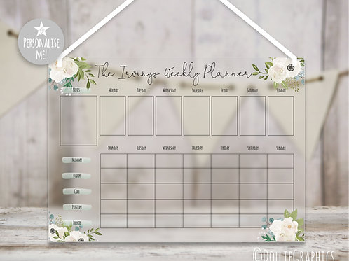 Personalised Family Planner - White Floral