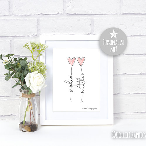 Personalised Couples Balloon Name Art