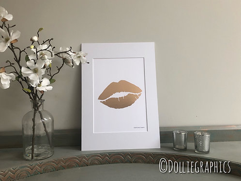 Simply Prints - Rose Gold Lips Print