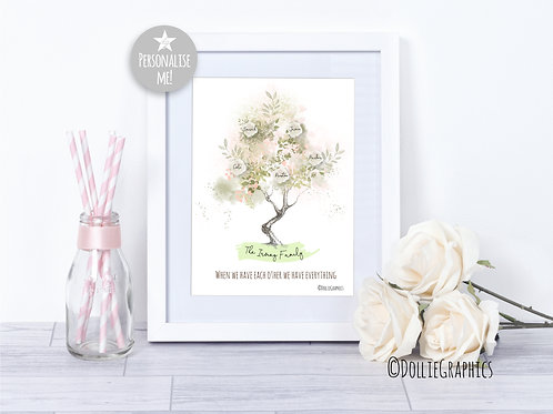 Personalised Watercolour Family Tree Print