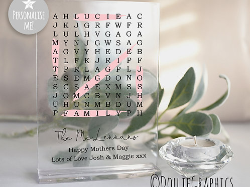 Personalised Family Acrylic Word Search