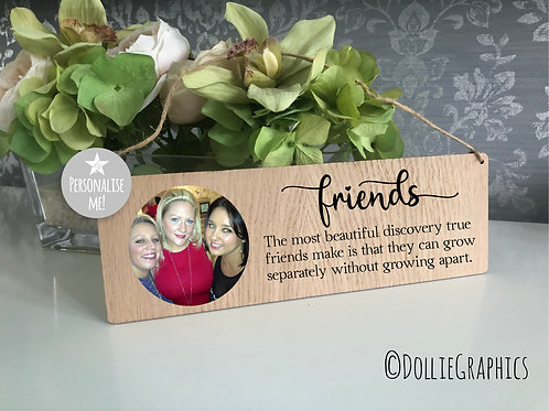 Personalised Friends Oak Hanging Plaque