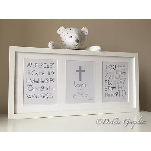 ABC 123 PERSONALISED CHRISTENING PRINT