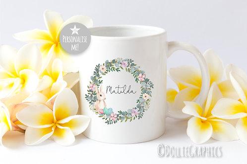Personalised Easter Wreath Mug