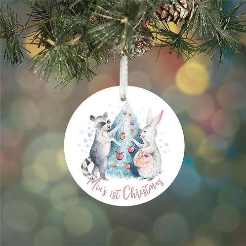 Personalised 1st Christmas Woodland Decoration Bauble