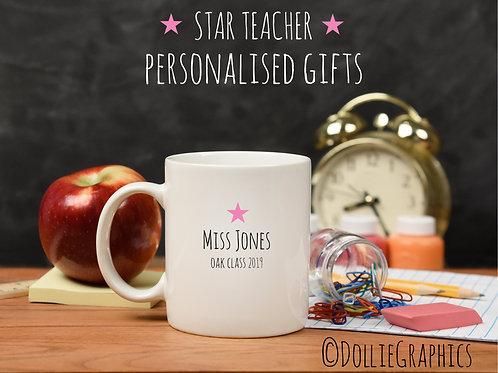 Personalised Star Teacher Mug