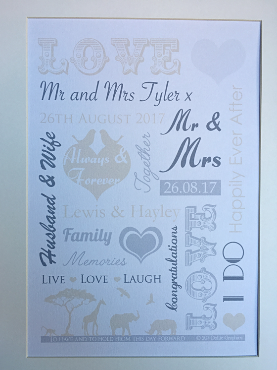 A wedding typographic wordart print with a hint of a safari