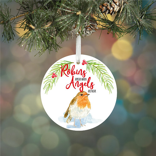 Personalised Robin Decoration Bauble