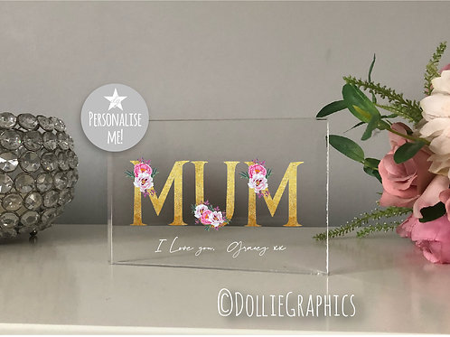 Personalised MUM Floral Text