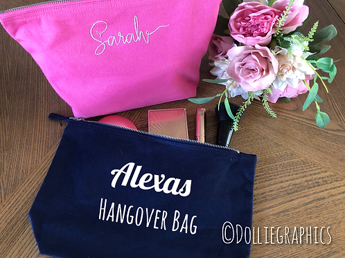 Personalised Bridesmaid Hen Canvas Accessory Bag