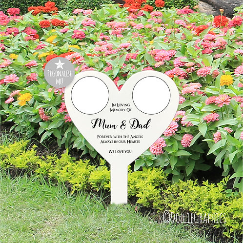 Personalised Double Heart Grave Marker