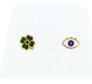 boucles d'oreilles puces oeil/trèfle dorées La Tatoueuse boutique cam le mac
