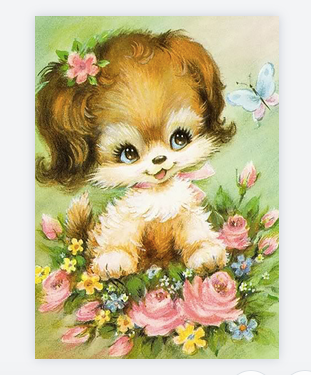carte chien fleurs