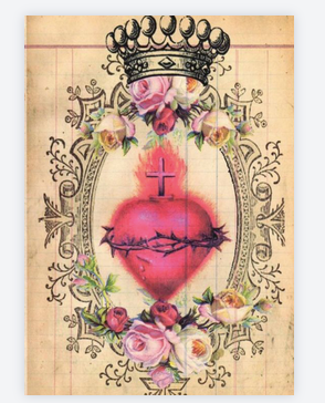 carte exvoto coeur rose