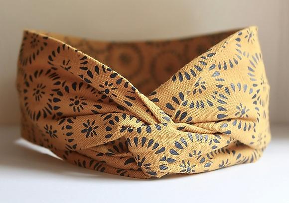 bandeau jaune headband tissu bio hermanitas boutique cam le mac
