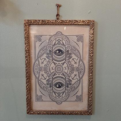 cadre ésotérisme yeux vintage doré cabinet de curiosités magie boutique cam le mac