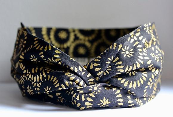 bandeau noir or headband tissu bio hermanitas boutique cam le mac