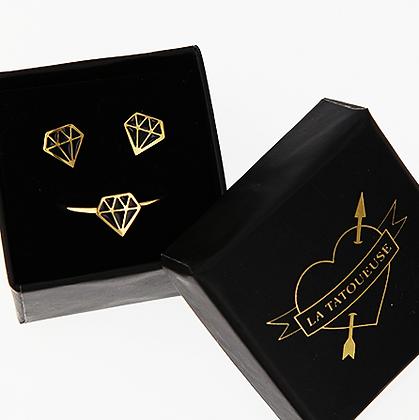 boucles d'oreilles puces diamant dorées La Tatoueuse boutique cam le mac