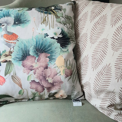 coussin biface Ibiscus/Palmes