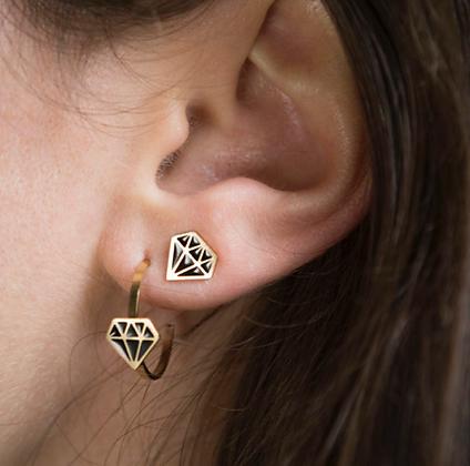 petites créoles or diamant La Tatoueuse boutique cam le mac