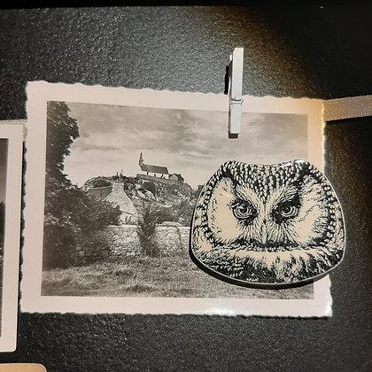 broche céramique chouette Stéphanie Cahorel photo vintage