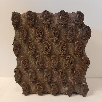 Ancien tampon textile feuilles cachemire