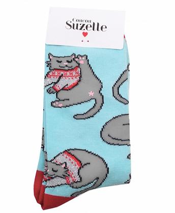 chaussettes chat gris coucou suzette