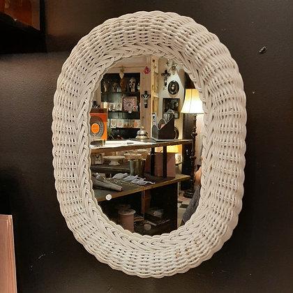 miroir vintage rotin blanc