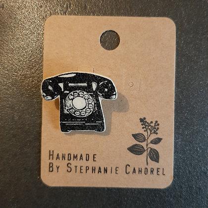 broche céramique téléphone vintage Stéphanie Cahorel