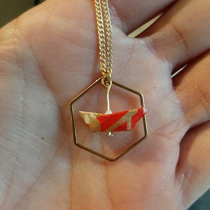 collier origami bateau papier japonais washi petipli boutique cam le mac