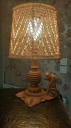 lampe vintage bois sculpté