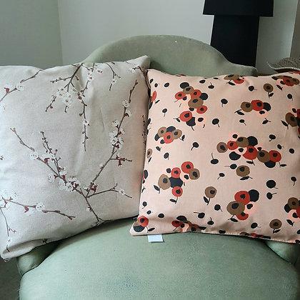 coussin biface Fleurs oeillets/Fleurs cerisier