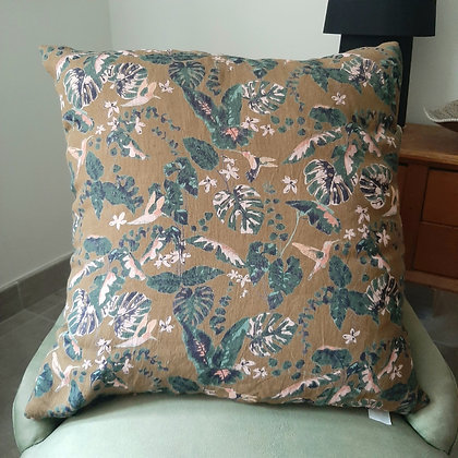 grand coussin Oiseaux moutarde