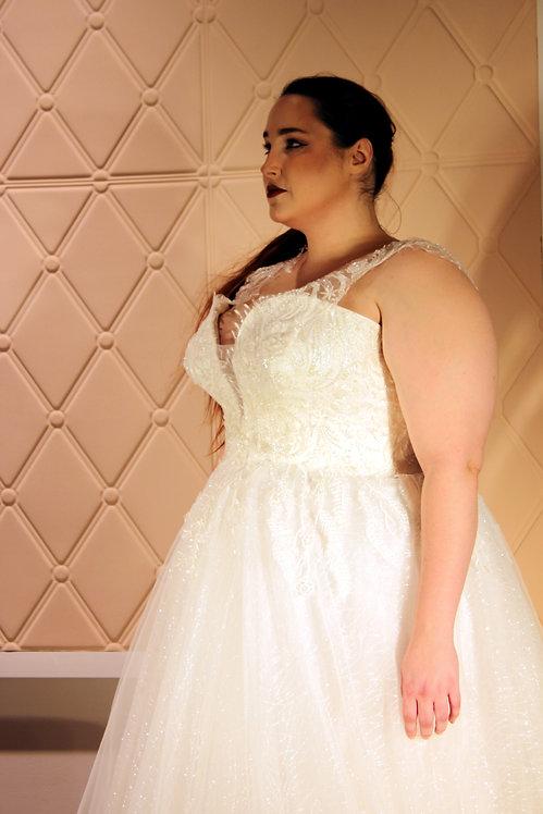 20112009 A-Line Hand Beaded Plus Size Wedding Dress