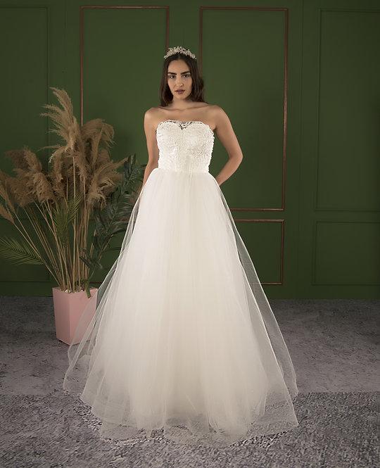 P21502 A-Line Hand Beaded Wedding Dress Ivory