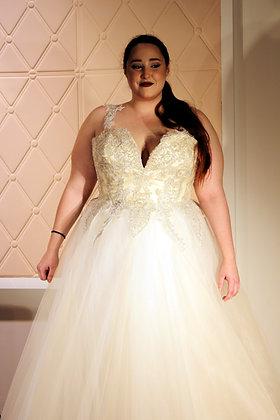 20112006 A-Line Hand Beaded Plus Size Wedding Dress