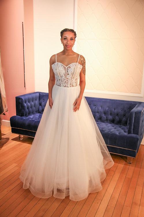 21013 A-Line Hand Beaded Wedding Dress Ivory