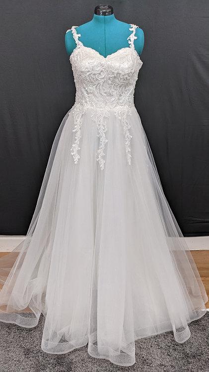 21216 A-Line Hand Beaded Plus Size Wedding Dress