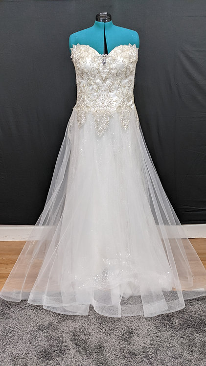 21075 A-Line Hand Beaded Plus Size Wedding Dress