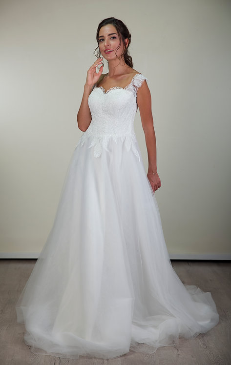 201104 A-Line Hand Beaded  Wedding Dress