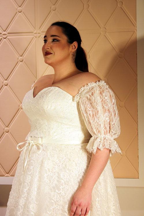 2019003 A-Line Plus Size Wedding Dress Ivory