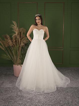 P21515 A-Line Hand Beaded Wedding Dress Ivory