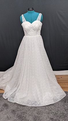 21219 A-Line Hand Beaded Plus Size Wedding Dress