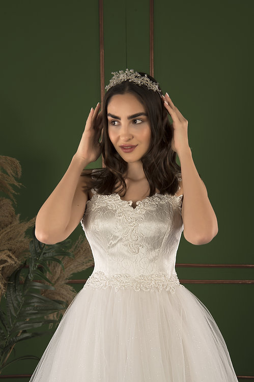 P21503 A-Line Hand Beaded Wedding Dress